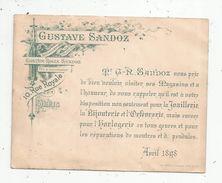 Invitation, 14 X 11, G. Sandoz,10 Rue Royale, Paris, Joaillerie, Bijouterie, Orfévrerie, Horlogerie, Avril 1898 - Publicités
