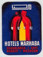 """20 """"HOTELS MARHABA - CASABLANCA / SAFI / AGADIR / MAZAGAN"""" ETICH. ORIG. - Etiquettes D'hotels"""
