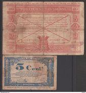 FRANCE  LOT 5 MONNAIES DE VILLES  DURANT LA GUERRE  1914/1918   Réf 686+687 - France