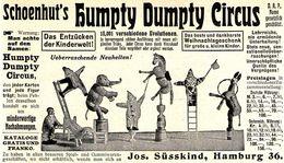 Original-Werbung/ Anzeige 1911 - SCHOENHUT'S HUMPTY DUMPTY CIRCUS / SÜSSKIND - HAMBURG - Ca. 130 X 75 Mm - Werbung