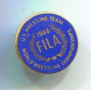 Wrestling, Ringen - FILA / World Championships 1966, United States Team, Vintage Pin Badge, Abzeichen, Enamel - Wrestling