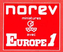 AUTOCOLLANT Norev Auto Miniatures Avec Europe 1 - Autocollants