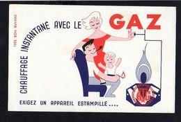 Buvard Publicitaire / Chauffage ....avec Le GAZ D'après  ?  Illustrateur à Identifier - Buvards, Protège-cahiers Illustrés