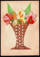 A8920 - Materialkarte - Blumen - Seide - Bestickt - Ansichtskarten