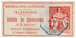 (I.B) France Telegraphs : Bulletin De Conversation 1Fr (Long Distance) - Europe (Other)