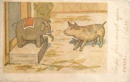 COCHON ET JOUET ELEPHANT - Carte 1900 Illustrée. - Cochons
