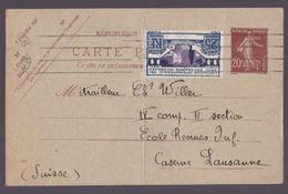 YT 213 Expo Arts Déco Pour La Suisse JUIN 1925 Avec Entier 20c Semeuse - Marcophilie (Lettres)