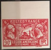 V33 1927 France - LEGION AMERICAINE 90c - Marginal IMPERF - Modern Reproduction - France
