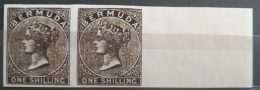 V33 British Colony BERMUDA - 1 SHELLING- IMPERF PAIR - Modern Reproduction - Great Britain (former Colonies & Protectorates)