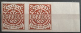 V33 British Colony SAMOA - EXPRESS 9 Pence - IMPERF PAIR - Modern Reproduction - Great Britain (former Colonies & Protectorates)