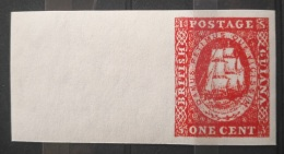 V33 British Colony GUIANA - ONE CENT Ship - IMPERF Rare Stamp - Modern Reproduction - Great Britain (former Colonies & Protectorates)