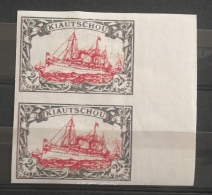 V33 GERMAN Rare Stamp - KIAUTCHOU 2 1/2 Dollars -Imperforated Marginal PAIR - Modern Reproduction Of Scarce Stamps - Colony: Kiauchau