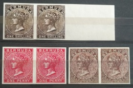 V33 British Colony BERMUDA - 3 Diff Stamps - All IMPERF PAIRS - Modern Reproduction - Great Britain (former Colonies & Protectorates)