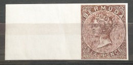 V33 British Colony BERMUDA - 6p Stamp - IMPERF  - Modern Reproduction - Great Britain (former Colonies & Protectorates)
