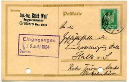 6_43 Carte Postale Non Illustrée Gröbers 18.7.24 - Cartas