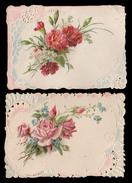 2 CHROMOS DECOUPIS Gaufrè - Cartes De Vœux - Roses Et Oeillets - 110x75 Mm - Fleurs