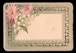 CHROMO DECOUPIS Gaufrè - Carte De Vœux - Marguerites Et Muguets - 115x80 Mm - Fleurs