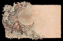 CHROMO DECOUPIS Gaufrè - Carte De Vœux - Oiseaux - 110x65 Mm - Fleurs