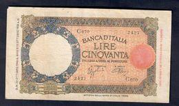 50 LIRE LUPA CAPITOLINA FASCIO ROMA 23 10 1940 BEL BIGLIETTO Minima Mancanza LOTTO 218 - [ 1] …-1946 : Regno