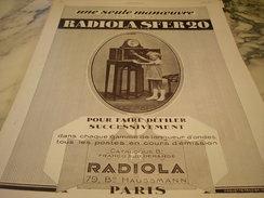 ANCIENNE PUBLICITE DE RADIOLA SFER20 1927 - Plakate & Poster