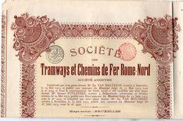 VP11.523 - Action - BRUXELLES 1933 - Société Des Tramways Et Chemins De Fer Rome - Nord - Chemin De Fer & Tramway