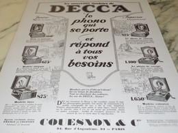 ANCIENNE PUBLICITE LE PHONO DE DECCA 1927 - Plakate & Poster