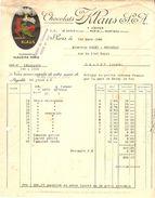 FACTURE 1924 S.A. KLAUS CHOCOLAT PARIS - 4 USINES LE LOCLE SUISSE MORTEAU DOUBS BOBIGNY FRANCE - Food