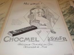 ANCIENNE PUBLICITE UNE GATERIE CHOCMEL DE KOHLER 1926 - Posters