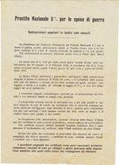 PRESTITO NAZIONALE  5% PER LE SPESE DU GUERRA - SOTTOSCRIZ. POPOLARE In 12 RATE - Non Classificati