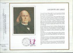 Feuillet Sur Soie CEF N° 447 - Leconte De Lisle - Documents De La Poste