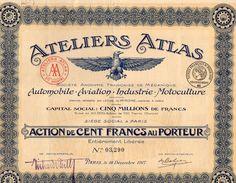 VP11.528 - Action - PARIS 1917 - Ateliers Atlas Mécanique Pour Automobile - Aviation - Industrie - Motoculture - Industrie