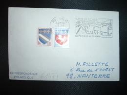 LETTRE TP BLASON ST LO 0,20 + TROYES 0,10 OBL.MEC.6-11-1972 20 CALVI CORSE PLAGE AU SOLEIL - Marcofilia (sobres)