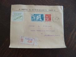Lettre France En Recommandé Paris Pour Rennes Pub J.Htz Avec Vignette Exposition Philatélique 1937 2 TP Période 1937 - Marcophilie (Lettres)
