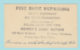 OM.6 Entier Postal Postal Stationery  Fine Shoe Repairing. / Chaussures    El Reno Okla. 3.Nov.55 - 1941-60