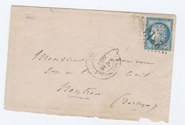1875 FRANCE COVER Pmk NUMERAL 2813 , PERIGUEUX  To NONTRON Ceres Stamps - Postmark Collection (Covers)