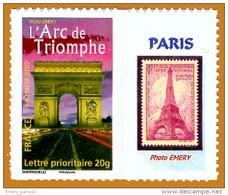 France**LUXE 2002 Personalisé 3599B Photo, Ancien 4027B (Adhésif 113A), Arc De Triomphe Et Tour Eiffel En Vignette, Vf T - Gepersonaliseerde Postzegels