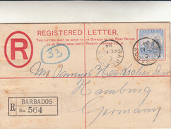 Barbados To Amburgo, Germany. Registered Letter 1894 - Barbados (...-1966)