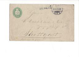 18183 - Entier Postal 25 Cent Vert Genève 24.02.1895 Pour Stuttgart - Entiers Postaux