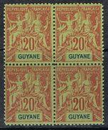 GUYANE N°36 N**  En Bloc De 4  Founier - Guyane Française (1886-1949)