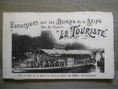 """Carnet Carte Postale + Plan Touristique - Excursions Bords De Seine Vapeur  """"Le Touriste"""" Paris Au Hâvre Suresnes écluse - La Seine Et Ses Bords"""
