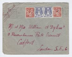 FRANCE COVER Franked 2x 50c 1944 CHAINS ARMS,  2x 1.50f To GB - France