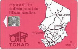 @+ Tchad - ONPT 20U - Red Map Of Tchad SC7 - Tschad