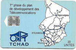 @+ Tchad - ONPT 30U - Blue Map Of Tchad SC7 - Tsjaad