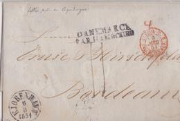 DANEMARK  LETTRE POUR LA FRANCE VIA HAMBOURG  AVEC CORRESPONDANCE  1851  INDICE 19 (380 EUROS) - Danimarca