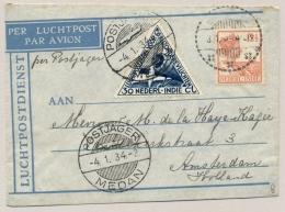 Nederlands Indië - 1934 - LP-briefje Met Postjager/Medan Van Bindjei Naar Amsterdam - Nederlands-Indië