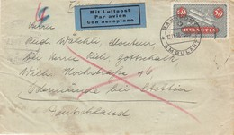 BRIEF SCHWEIZ  12 IX 38  MIT LUFTPOST. BAHNPOST AMBULANT. VERSO CONTROLE ET BANDE ALLEMANDE STETTIN - Schweiz