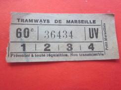 1880 Ancien Titre De Transport Billet Ticket Simple De Tramway De Marseille France Devise Ou Morale Civique Au Verso... - Tram