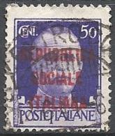 R.S.I., 1944 Effigie Di V.E.III Soprastampata 50c Violetto  # Michel 644 - Scott 3 - Sassone 493 - Usato - 4. 1944-45 Repubblica Sociale