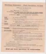 TRACT PARTI SOCIALISTE FRANCAIS  S.F.I.O. . REFERENDUM DU 21 OCTOBRE 1945 .  APRES GUERRE 1939 - 1945 . - Historische Dokumente