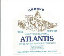 """Etiquette De VIN DE GRECE """" ATLANTIS 0.35 L """" - Blancs"""